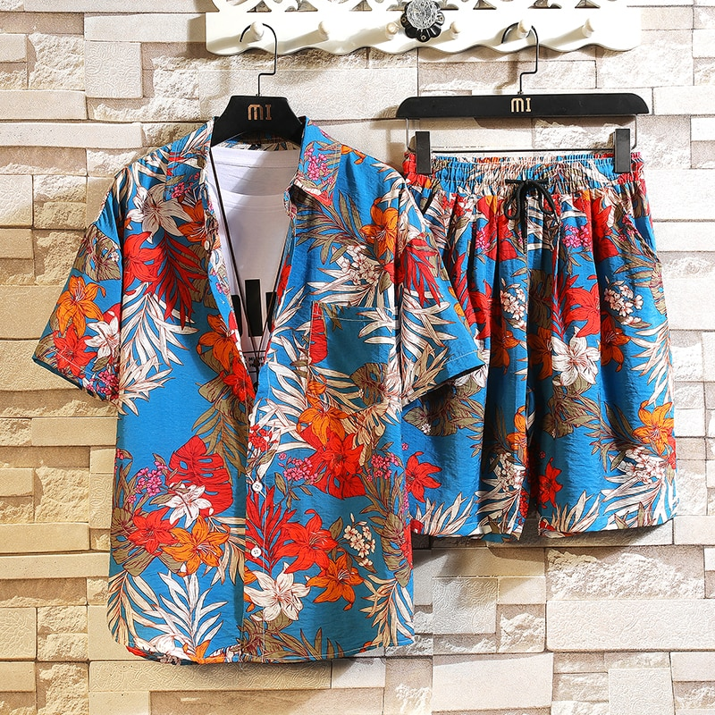 Men's 2 Pieces Set Hawaiian Shirts +Beach Shorts Mens Casual Streetwear 2021 Summer Floral Loose Short Sleeve Holiday Suits Male