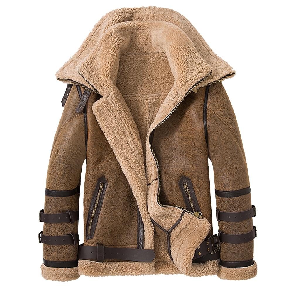 مزدوجة الياقات 2021 سميكة جلد طبيعي فراء من صوف الأغنام سترة الطبيعية القص الفراء معطف الشتاء الرجال الملابس الدافئة الفراء