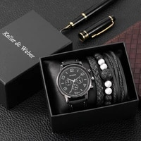 mens watch bracelet set with box classic black quartz wristwatch pin buckle leather strap chic woven bangles best gifts for men