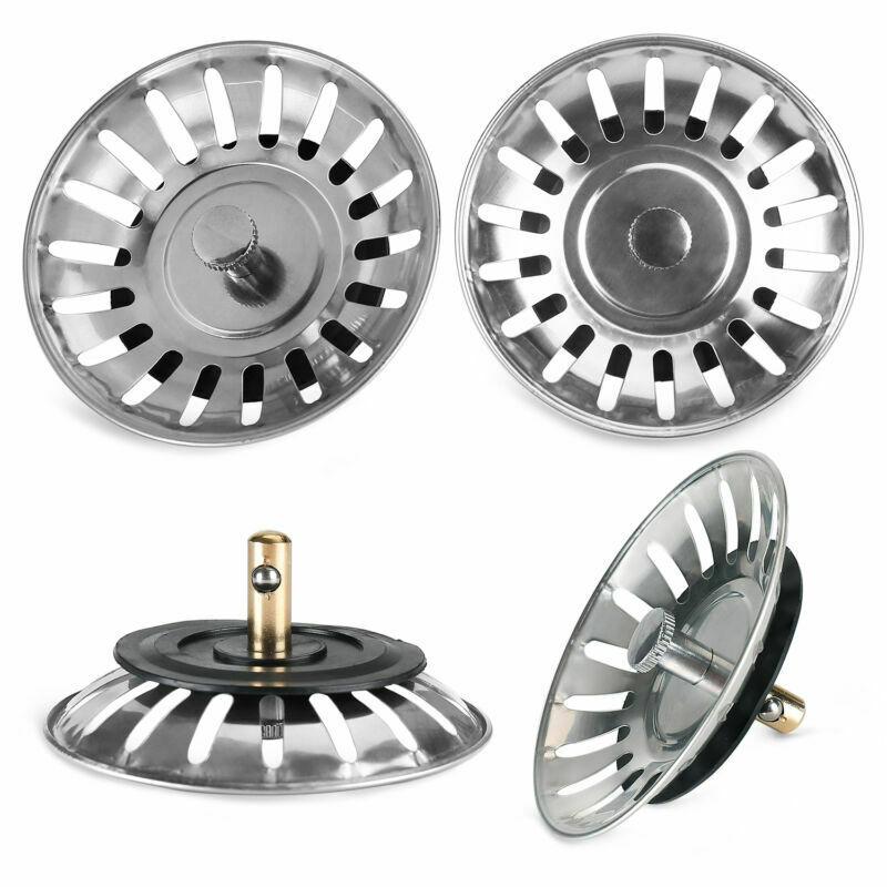 Stainless Steel Sink Strainer Stopper Waste Plug Sink Filter Bathroom Hair Catcher Stopper Shower Drain Hole Filter Kitchen Tool
