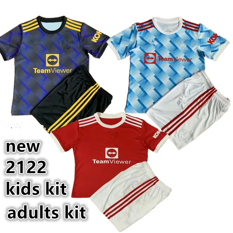Top Quality adults kit kids kit RASHFORD POGBA B.FERNANDES MARTIAL utd JAMES GREENWOOD new 21 22 manchester shirt united shirt