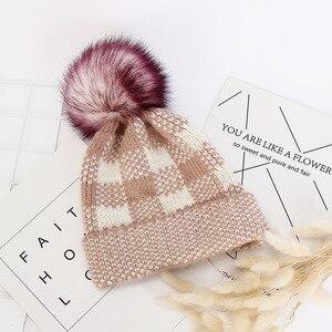 Women winter Knitted Hat Wool Hooded Hat Fashion  lattice Warm Hat Hat Women Hat Hairball Cap Multicolor fur ball warm hat