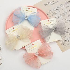Lace Bow Duckbill Clips For Teenage Headdress Fresh Mesh Crown Teens Hairpins Flower Dot Girls Hair Accessories
