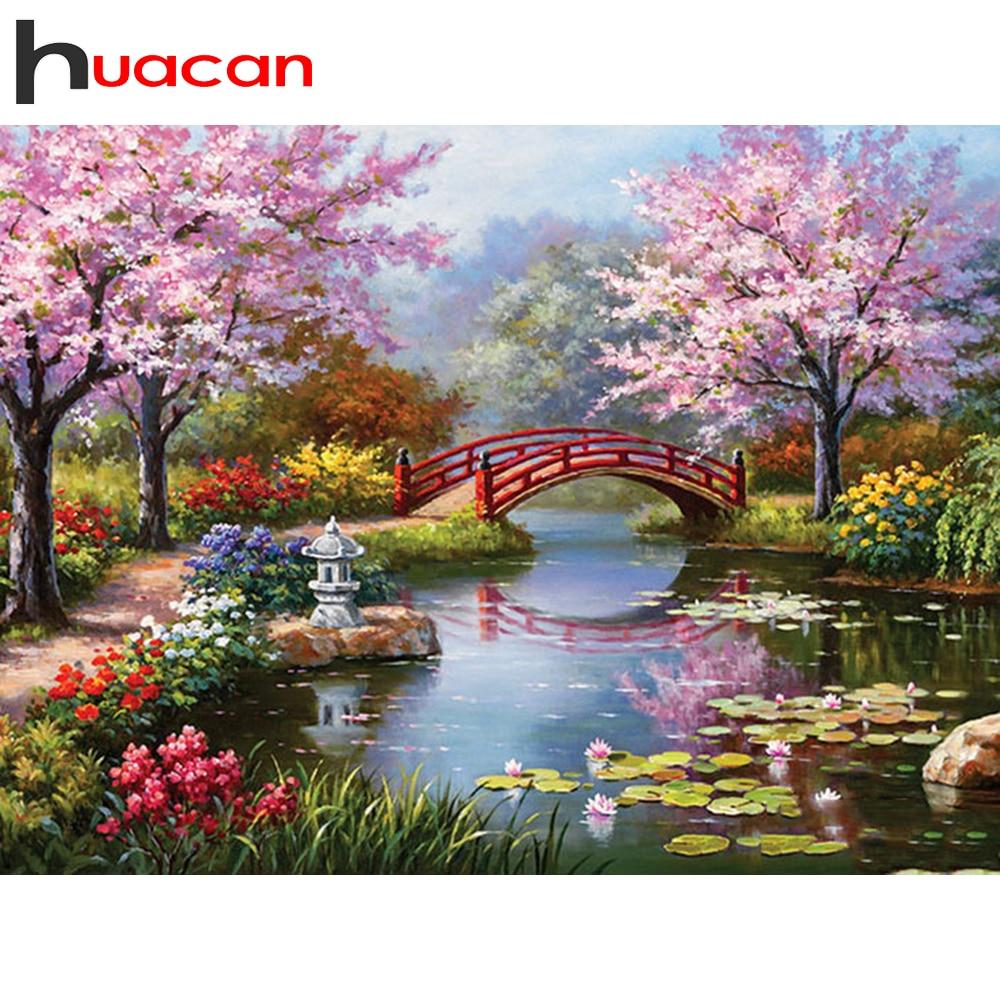 Huacan 5d diamante pintura de paisaje con árbol taladro completo cuadrado/bordado de diamante redondo flor hecho a mano Kit para manualidades decoración del hogar