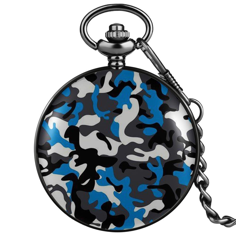 Камуфляжные кварцевые карманные часы с принтом синего/серого/зеленого цвета, винтажные часы с арабскими цифрами, Подвесные часы, цепочка-бр...