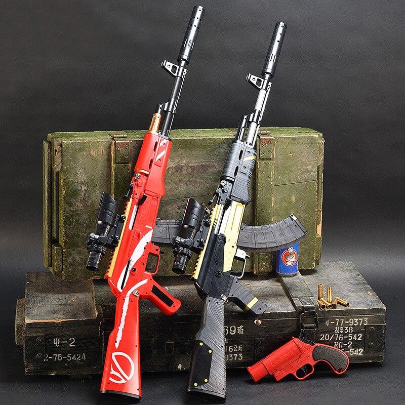 Plástico akm ak 47 assalto rifle arma de brinquedo manual de carregamento ao ar livre tiro 7-8mm água bala arma sniper armas de brinquedo para presentes dos meninos