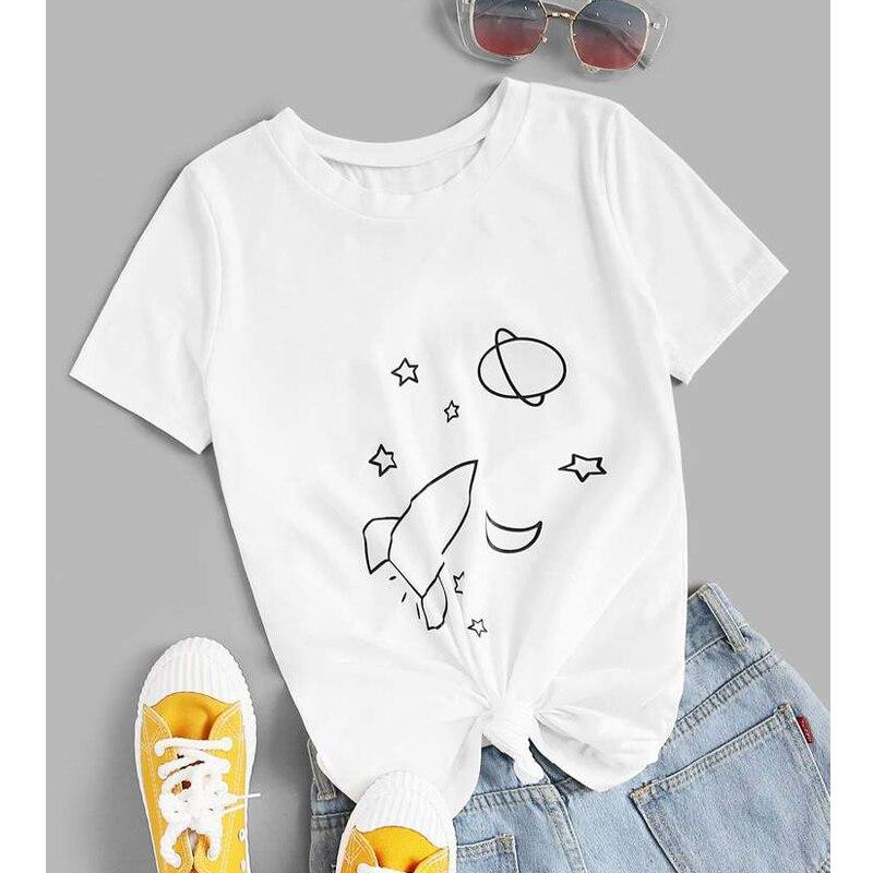 Mujeres ropa Tumblr Hipster Grunge camiseta cohete planeta estrellas espacio impreso camiseta verano gráfico divertido superior