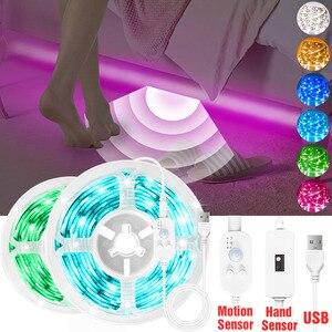 Motion Sensor LED Light Strip Hand Sweep Sensor Dimmable SMD2835 5V 2A USB TV Backlight Kitchen Tape Diode Night Lamp 0.5M - 5M