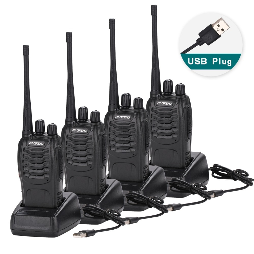 4Pcs Baofeng BF-888S Walkie Talkie USB charge adapter Portable Radio CB Radio UHF 888S Comunicador Transceiver+4 Headset