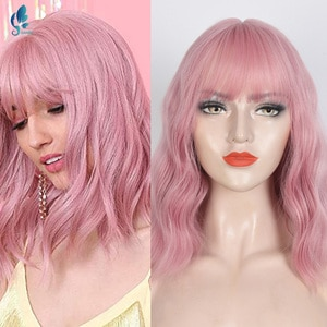 Synthetic Short Wavy Pink Hair Wig With Bangs Heat Resistant Fiber Cosplay Lolita Wigs For Women