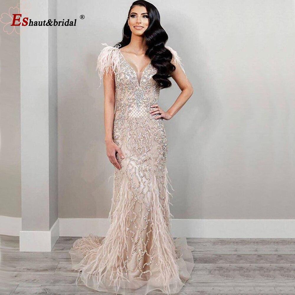 Champagne lujo cuello pico Sexy sirena vestidos de noche 2020 plumas de diamante vestido de gala de tirantes