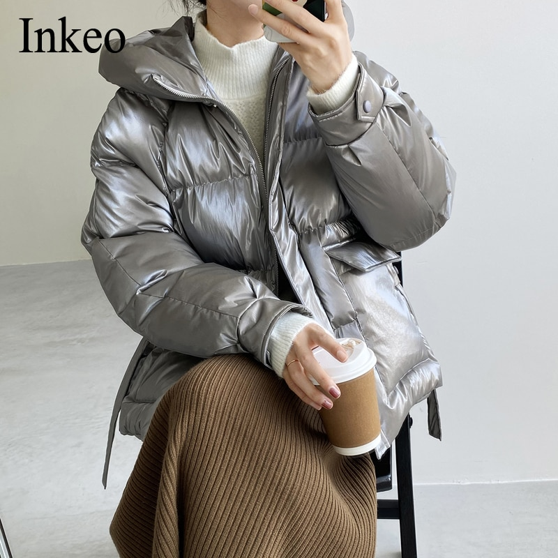 Shining Silver Women padded Coat Parkas Winter New Loose Female Thicken warm Short Jacket Overcoat 2021 Pockets Chic INKEO 9O084
