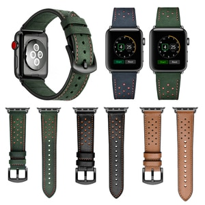 Genuine Leather Watchband For Apple watch Series 5 44mm 40mm Band Strap for iWatch 4 3 2 1 42mm 38mm Bracelet Wristband