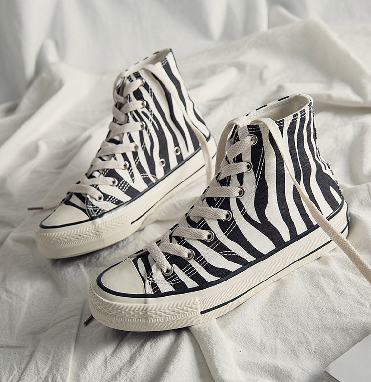 INS High Top Women's Canvas Shoes Zebra Pattern 2021 New Style Women's Casual Shoes Fashion Comforta