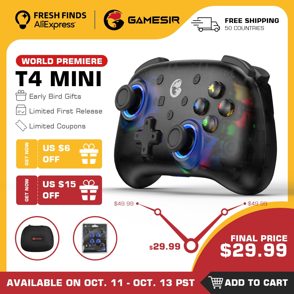 GameSir T4 Mini Bluetooth switch controller gamepad for Nintendo Switch, Apple Arcade and MFi game c