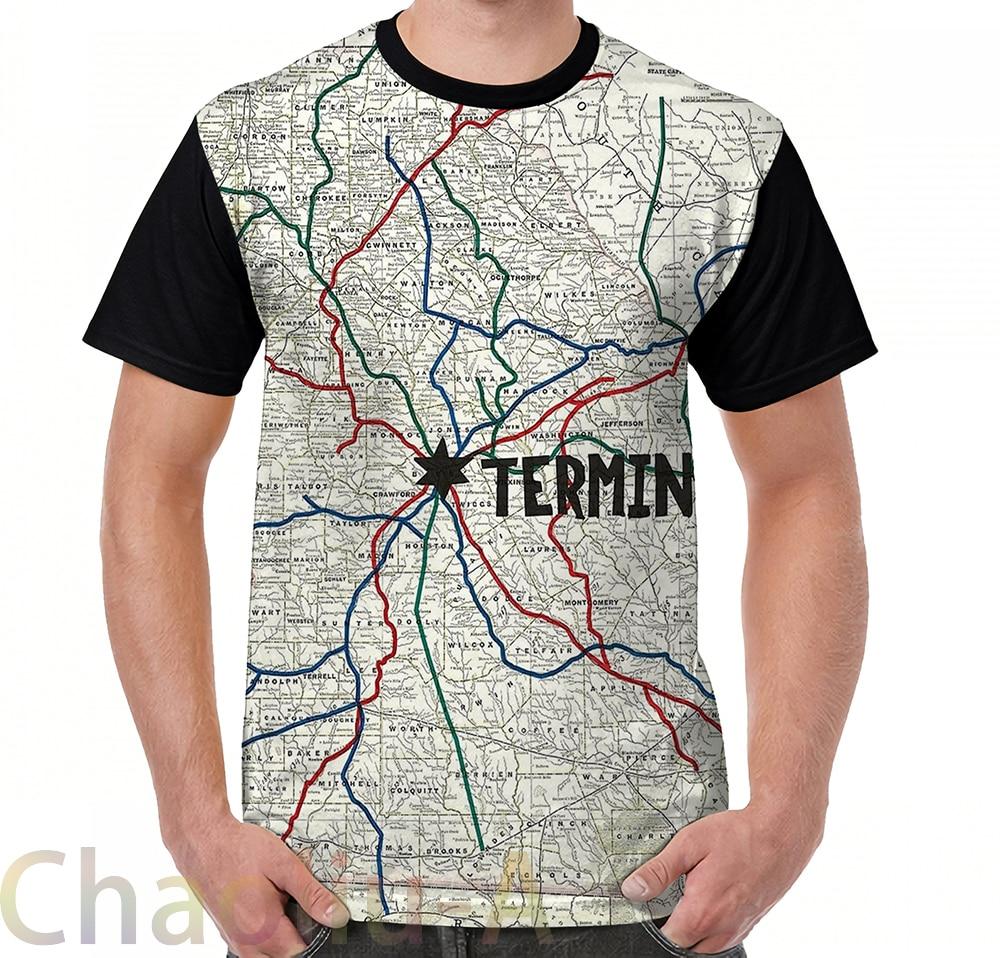 The Walking Dead - Terminus Map T-Shirt men funny printed t shirt women tops tees Short Sleeve Casual tshirts