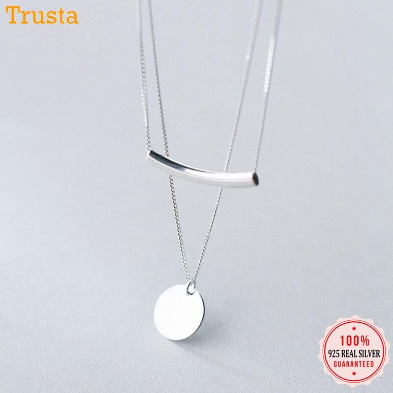 قلادة قصيرة دائرية من الثقة ديفيس 100% مصنوعة من الفضة الإسترليني الحقيقية 925 مزدوجة الطبقات هدية للنساء والفتيات المراهقات DA368