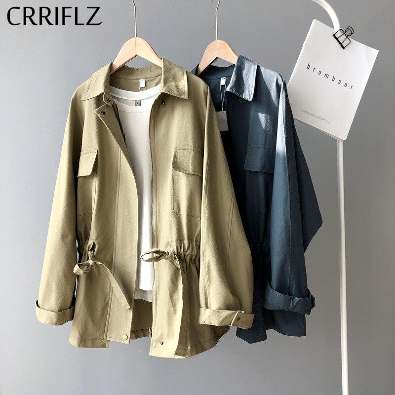 Primavera nueva Chaqueta estilo Safari mujeres manga larga Turn Down Collar bolsillo encaje Up abrigo sólido mujer CRRIFLZ