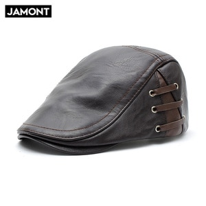 Autumn and winter warm hat PU leather women and men outdoor visors middle-aged casual fashion beret 12968