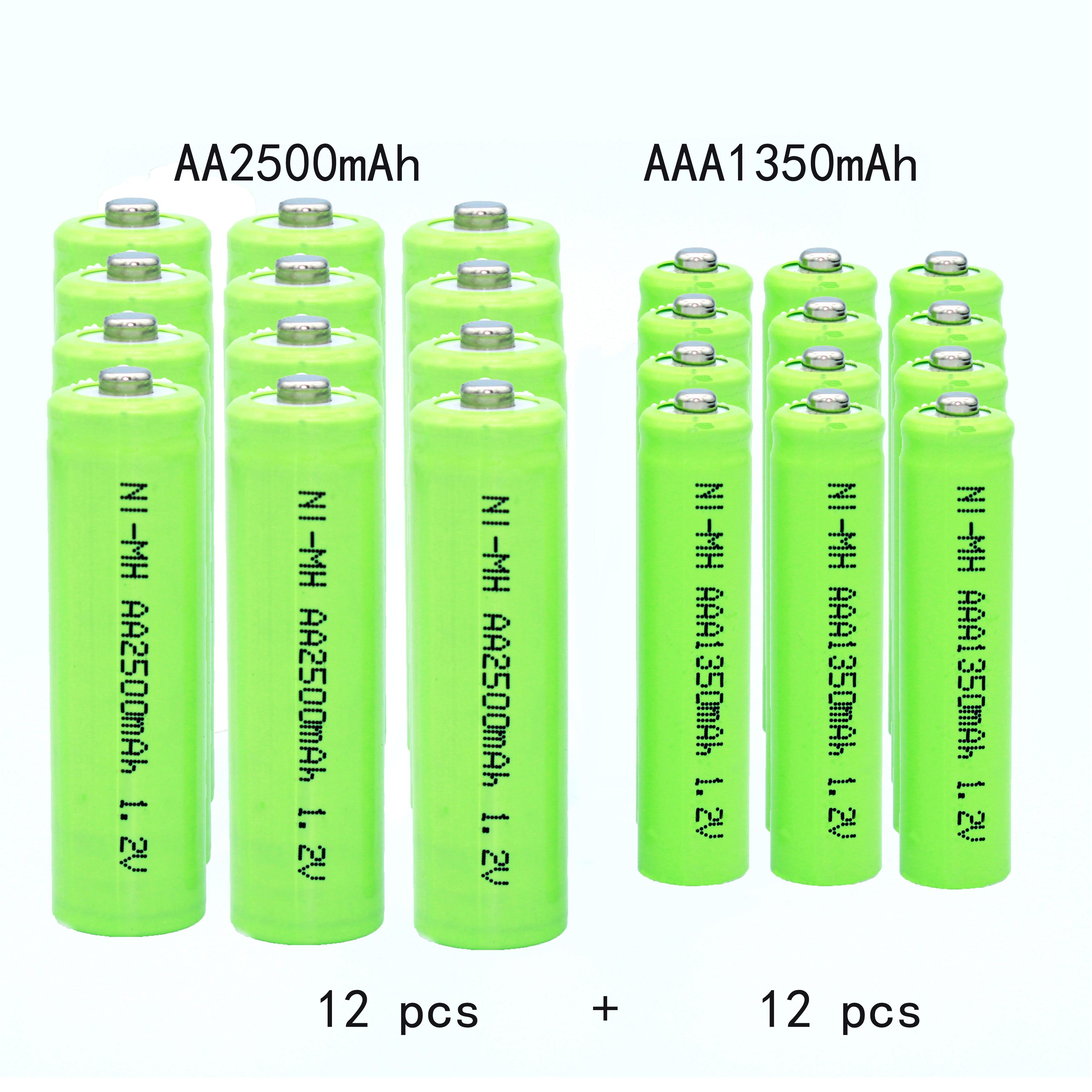Batería alcalina original recargable AA, 1,2 v, 2500mah, AAA1350mah, linternas, brinquedos, sustitución...
