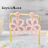 sophiaxuan hawaiian hot selling earrings fashion acrylic dangle earring wholesale flower jewelry for women 2021 trend party gift