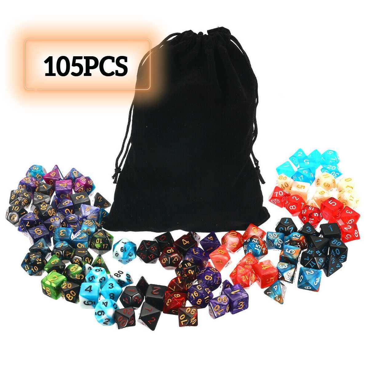 Conjunto de dados poliédricos DND RPG MTG 105 Uds juego de mesa de dragón + juego de colores mezclados