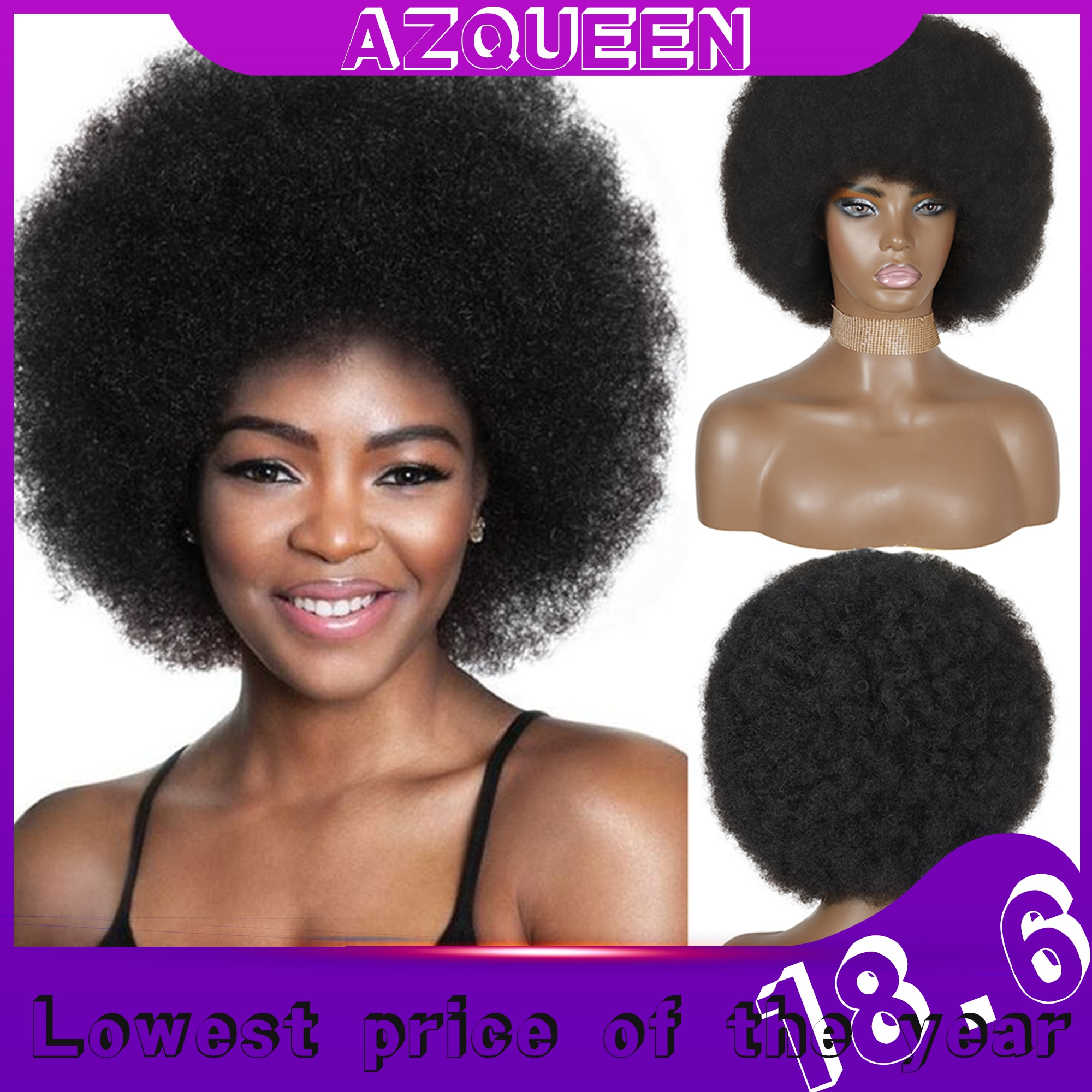 AZQUEEN Afro Wig Women Short Fluffy Hair Wigs with Bangs For Black Women Kinky curly Synthetic Hair For Party Dance Cosplay Wigs