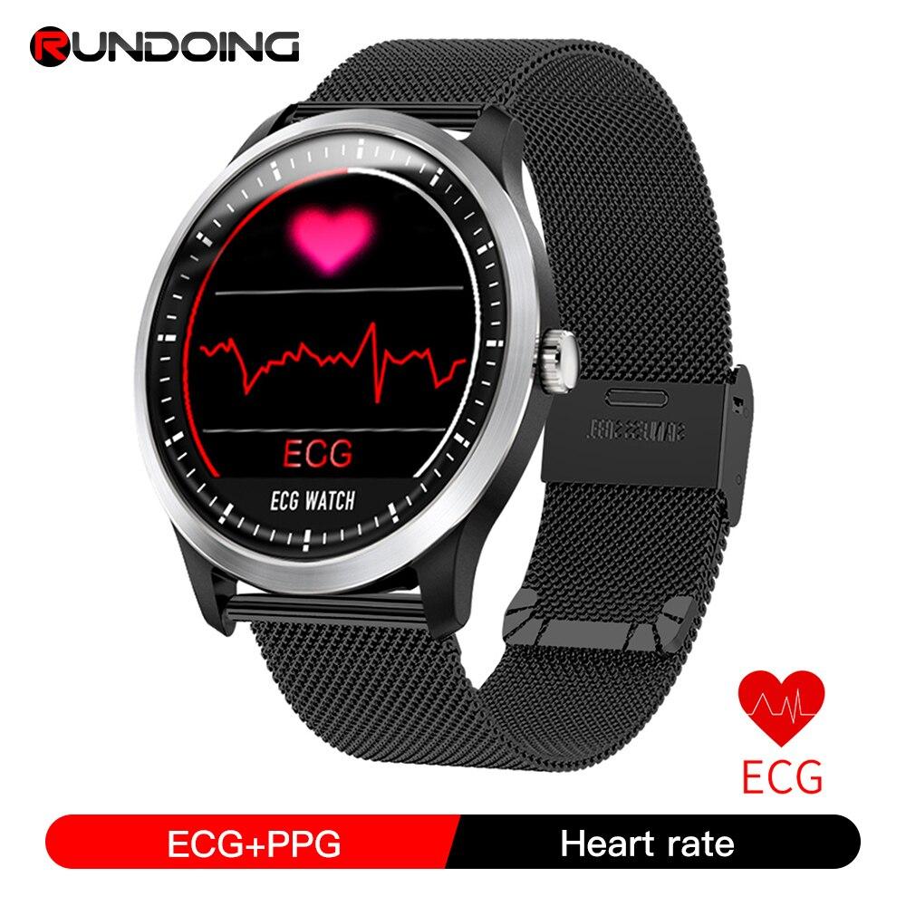 Rundoing N58 ECG PPG reloj inteligente con electrocardiógrafo ecg, ecg holter monitor de ritmo cardíaco presión arterial smartwatch