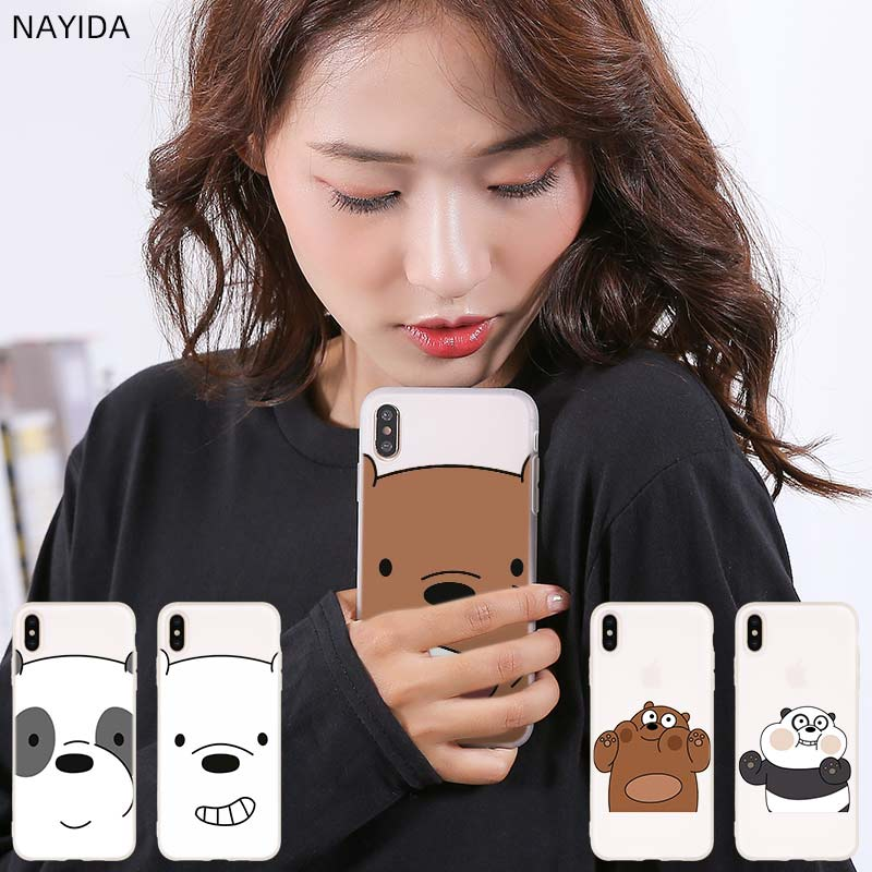 Fundas de teléfono de silicona suave para iPhone 11 Pro 2019 X XI XS Max XR 6s 7 8 Plus SE 4s 5S encantadores osos desnudos