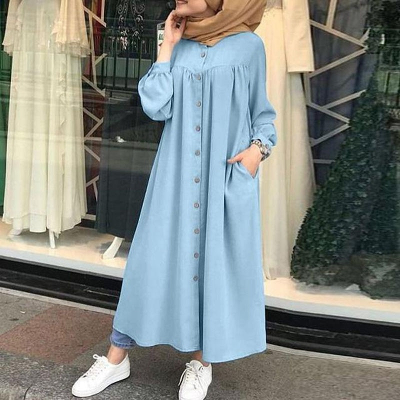 big stand up 2019 02 16t21 00 Autumn Temperament Women's Cardigan Stand-up Collar Big Swing Solid Color Long-sleeved Pocket Button Shirt Dress Casual Robe