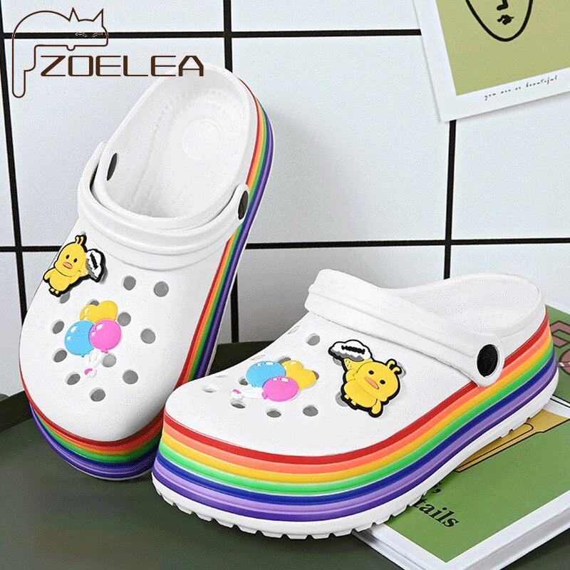 2021 Summer Women Clogs Platform Garden Sandals Cartoon Colourful Slippers Slip On For Girl Beach Shoes Fashion Slides Outdoor