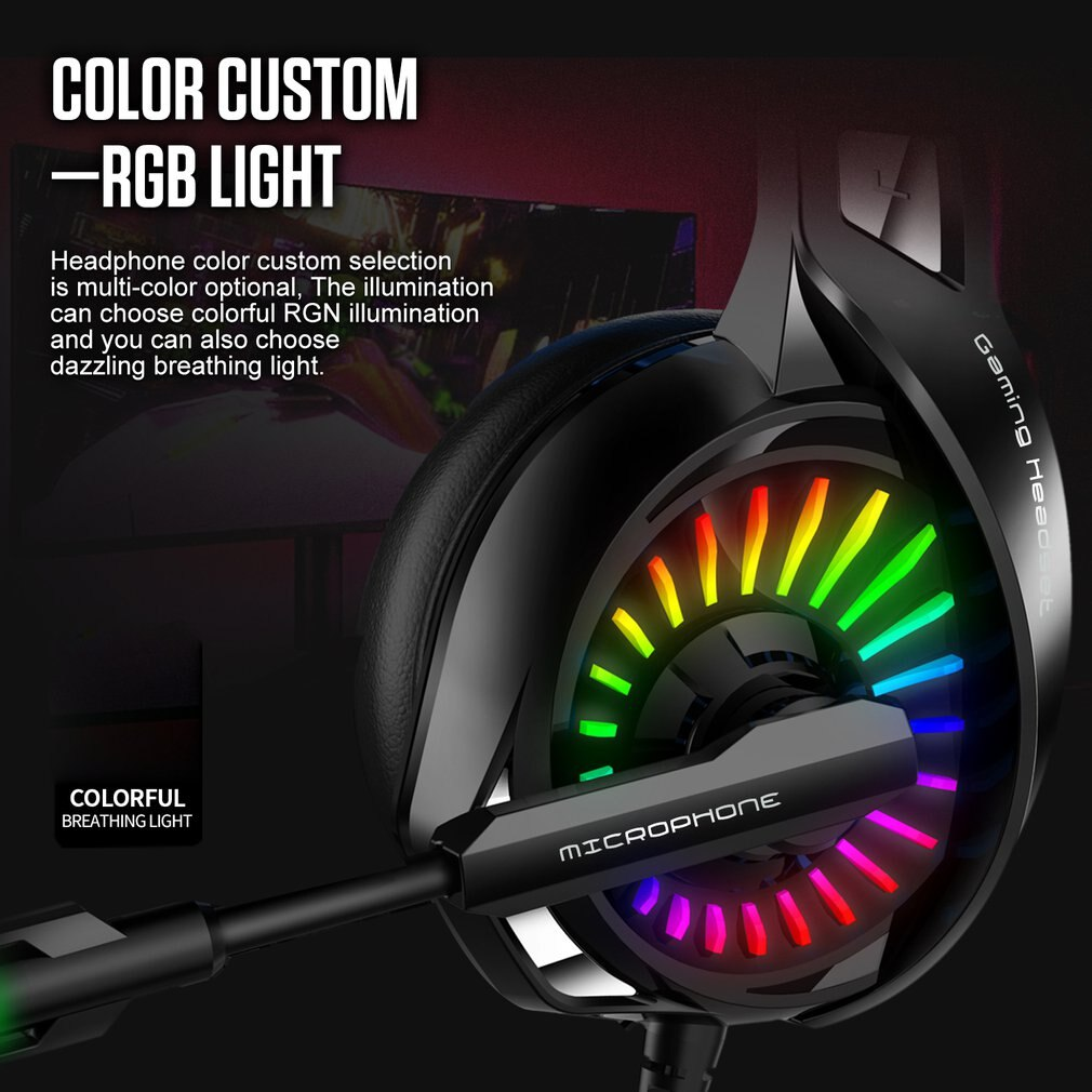 Gaming Headset with 7.1 Version Surround Sound Gaming Chat RGB Light Earphones with Noise Reduction Microphone Headphones enlarge