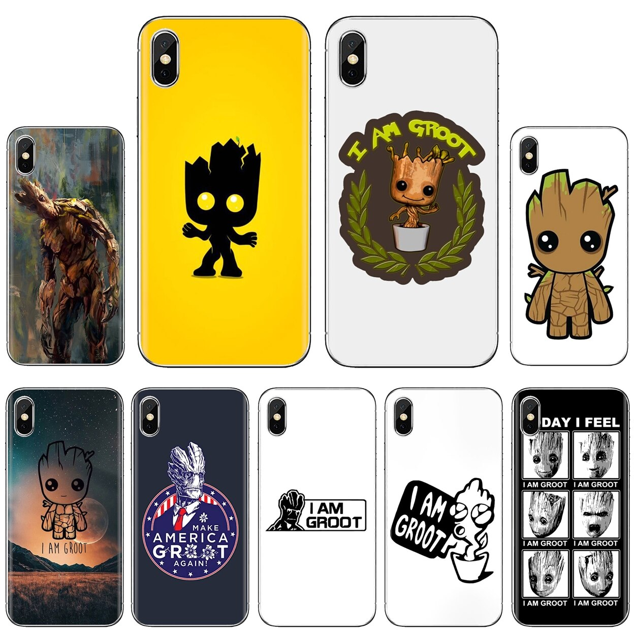Groot Face For Huawei Y6 Y5 2019 For Xiaomi Redmi Note 4 5 6 7 8 Pro Mi A1 A2 A3 6X 5X 7A Original S
