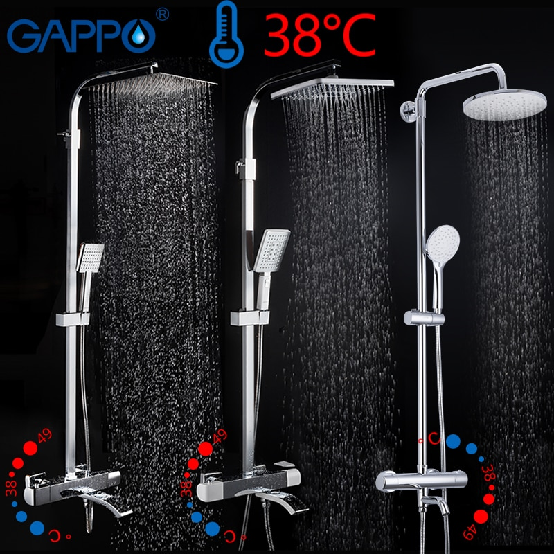 GAPPO thermostatic Shower System shower set rainfall faucet hot and cold black Shower faucet Bathtub