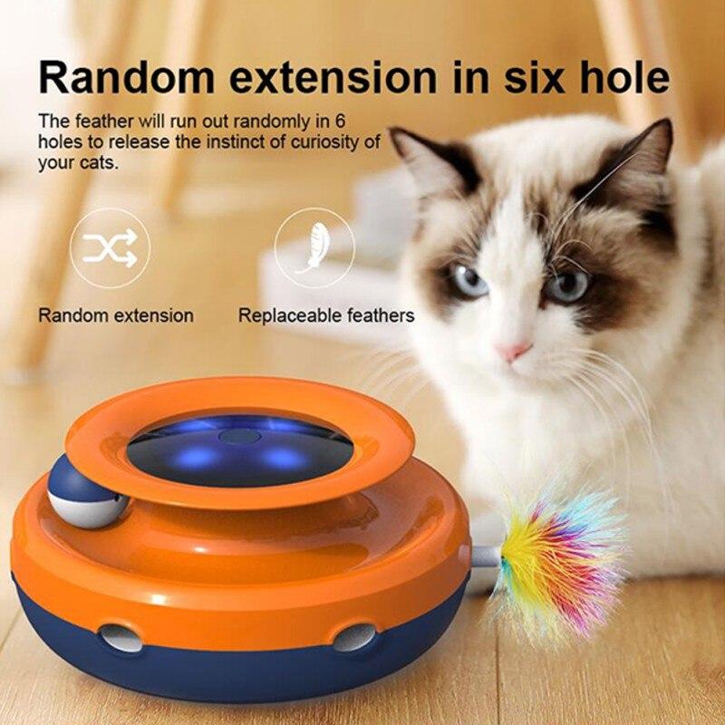 Animal de Estimação Placa de Diversões Gato Torre Faixas Disco Brinquedo Único Níveis Pista Bola Donut Inteligente Elétrica Pena Treinamento