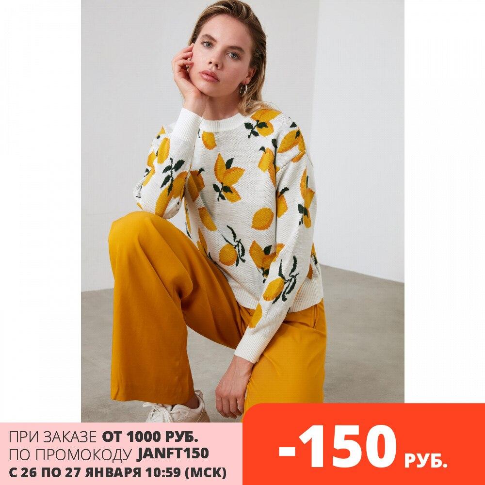Trendyol Lemon Print Jacquard Knitwear Sweater TWOAW21KZ0718