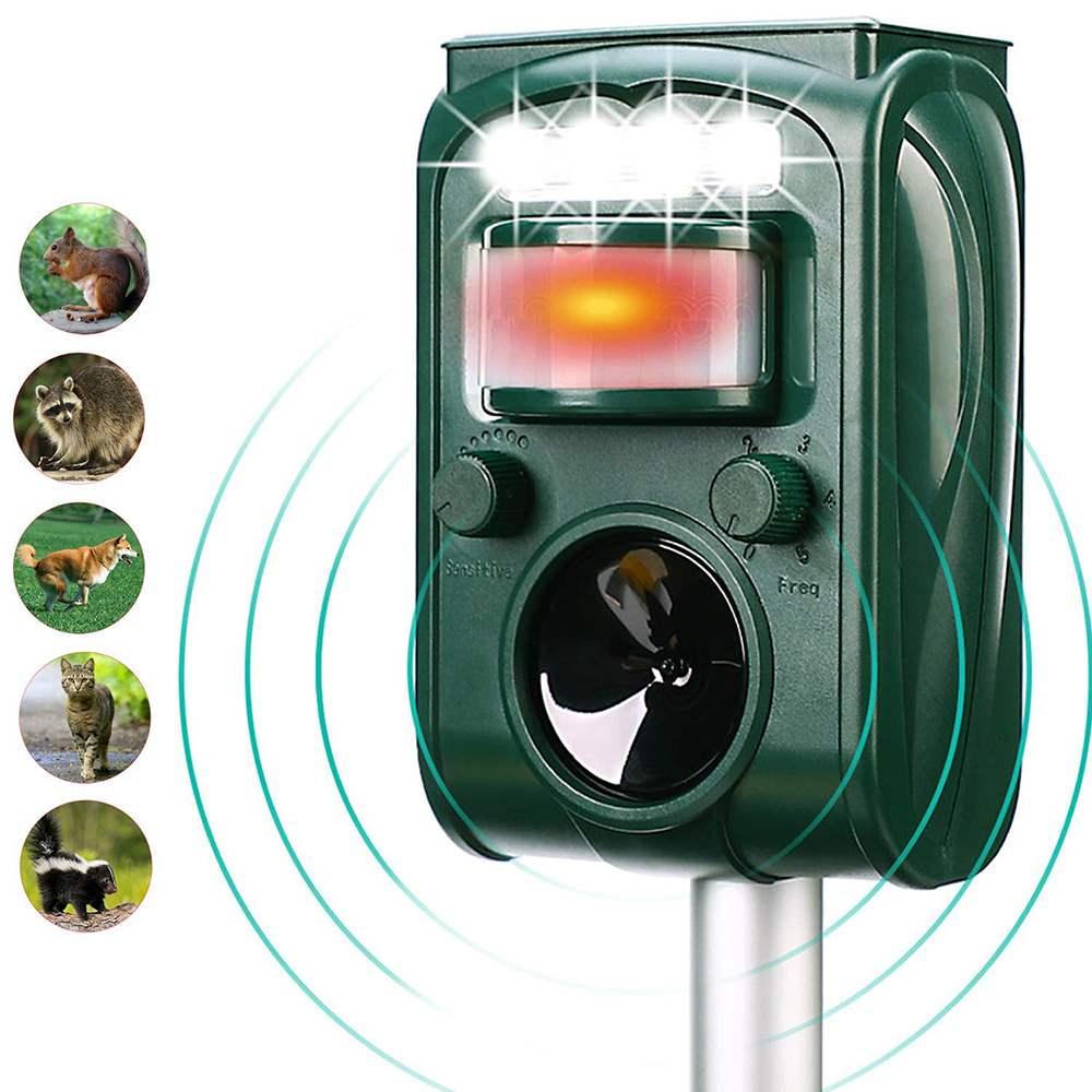 Usb solar led jardim ultra-sônico ao ar livre animal pragas repeller sensor de movimento luz flash cão gato guaxinim coelho animal dispeller