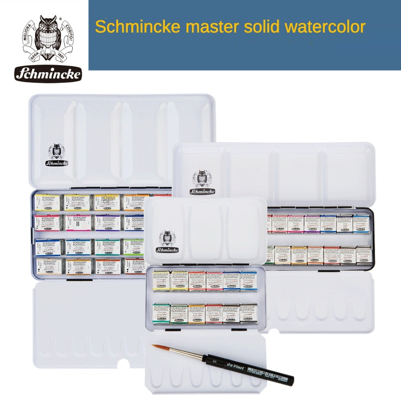 Germany Schmincke Master Solid Watercolor 8/12/18/24/36/48 Colors Set Art Painting Supplies Outdoor Sketching Paints