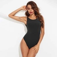 solid color sexy bodysuit women 2021 summer new o neck sleeveless backless striped office ladies bottoming shirt bodysuits