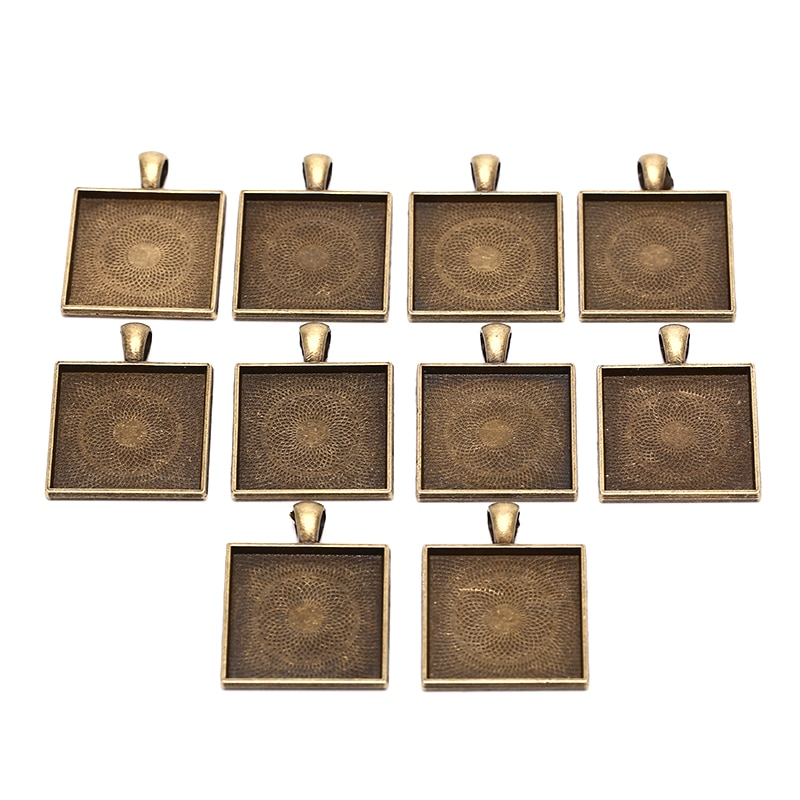 10 unids/lote ajuste 25x25mm cuadrado antiguo plata/plata camafeo bronce/vidrio/marco cabujón engaste ajustes, colgante bandeja en blanco