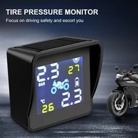 motorcycle tpms tire pressure monitoring system solar power digital lcd tire pressure temperature alarm system with 2 sensors