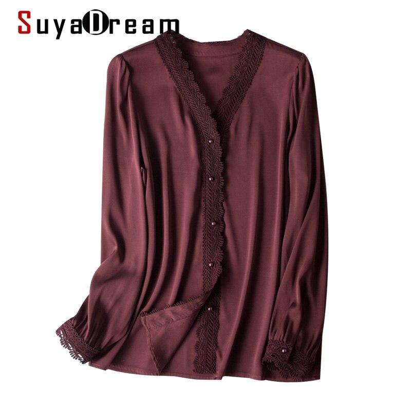 SuyaDream Silk Blouse Women 2020 95%Silk 5%Spandex Long Sleeves Lace Office Blouse Shirt Elegant Lace Top