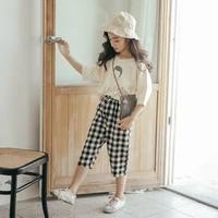 children clothing girls summer suit trendy clothing children korean style western fashion big childrens plaid two piece suit