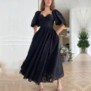 Black Lace Evening Dresses Anke length A-line Sweetheart Short sleeve Party Dresses Button Fashion ExquisiteParty Gowns