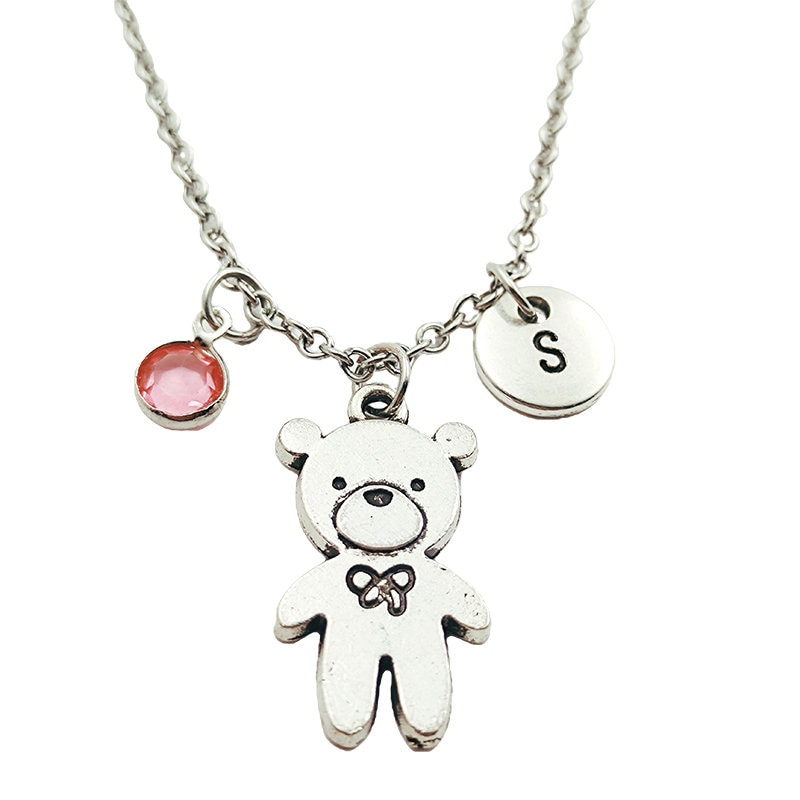 Teddy Bear Necklace Birthstone Creative Initial Letter Monogram Fashion Jewelry Women Christmas Gifts Accessories Pendant