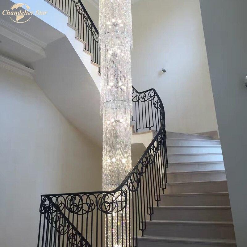 الحديثة الفاخرة الثريات البلورية/ النجف الكريستالي الإضاءة لغرفة المعيشة فندق كبير الدرج غرفة نوم مطعم LED بريقا مصباح داخلي