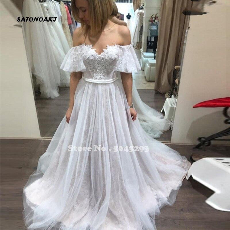 Precioso Vestido De Novia De manga corta con hombros descubiertos, corte De...