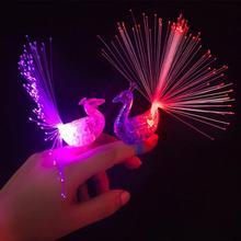 3 pièces paon lumières LED doigt lumière coloré clignotant doigt jouet enfants cadeau fête enfants jouet nouveauté éclairage paon LED lumières