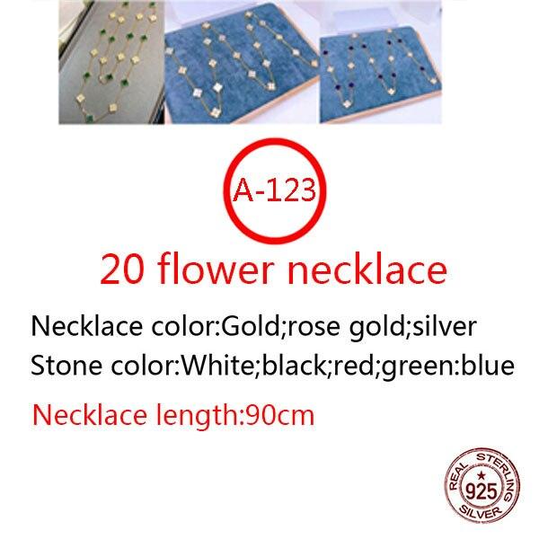 A123 20 زهرة 925 الاسترليني قلادة فضية الاسلوب المناسب أربع أوراق البرسيم الأوسط الماس الراقية شكل جديد مجوهرات هدية