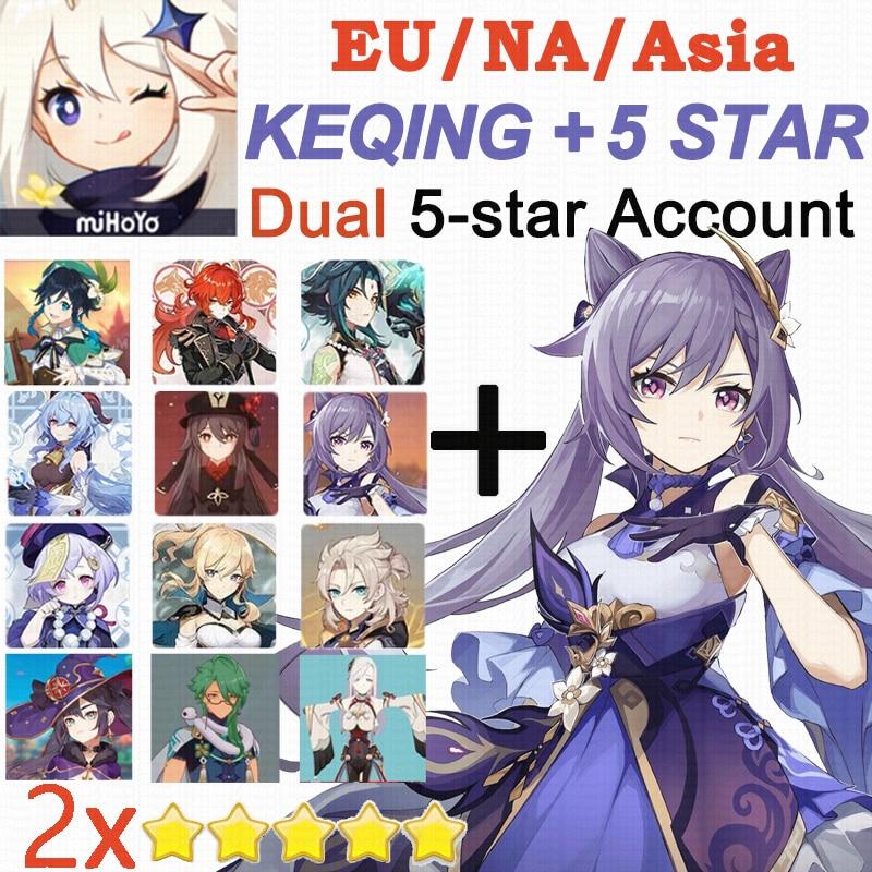 Genshin Impact Dual 5-star Travelers With Keqing 5 Star X2 Account Hutao Ganyu Xiao Jean Venti Qiqi Mona Diluc Keqing EU/NA/Asia